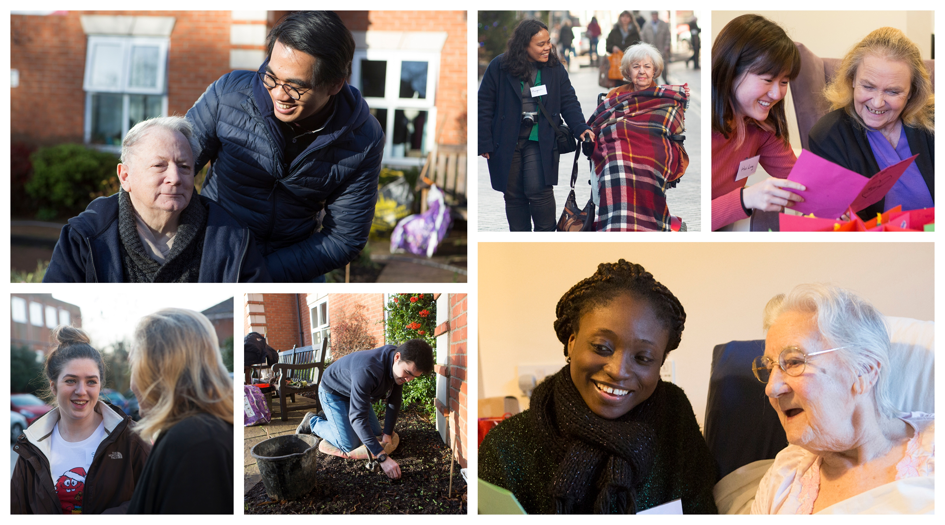 students volunteer with residents at Hillside