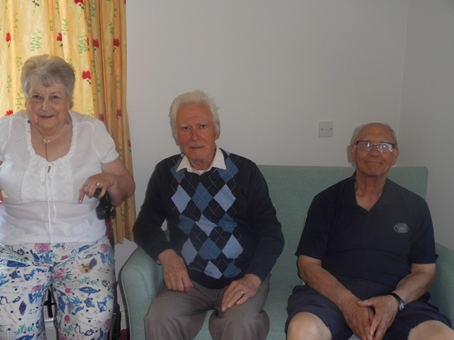 Pictured: Residents Jill Wilson and Ken Freeman at their reunion with Live at Home member Lawrence Neal (right).