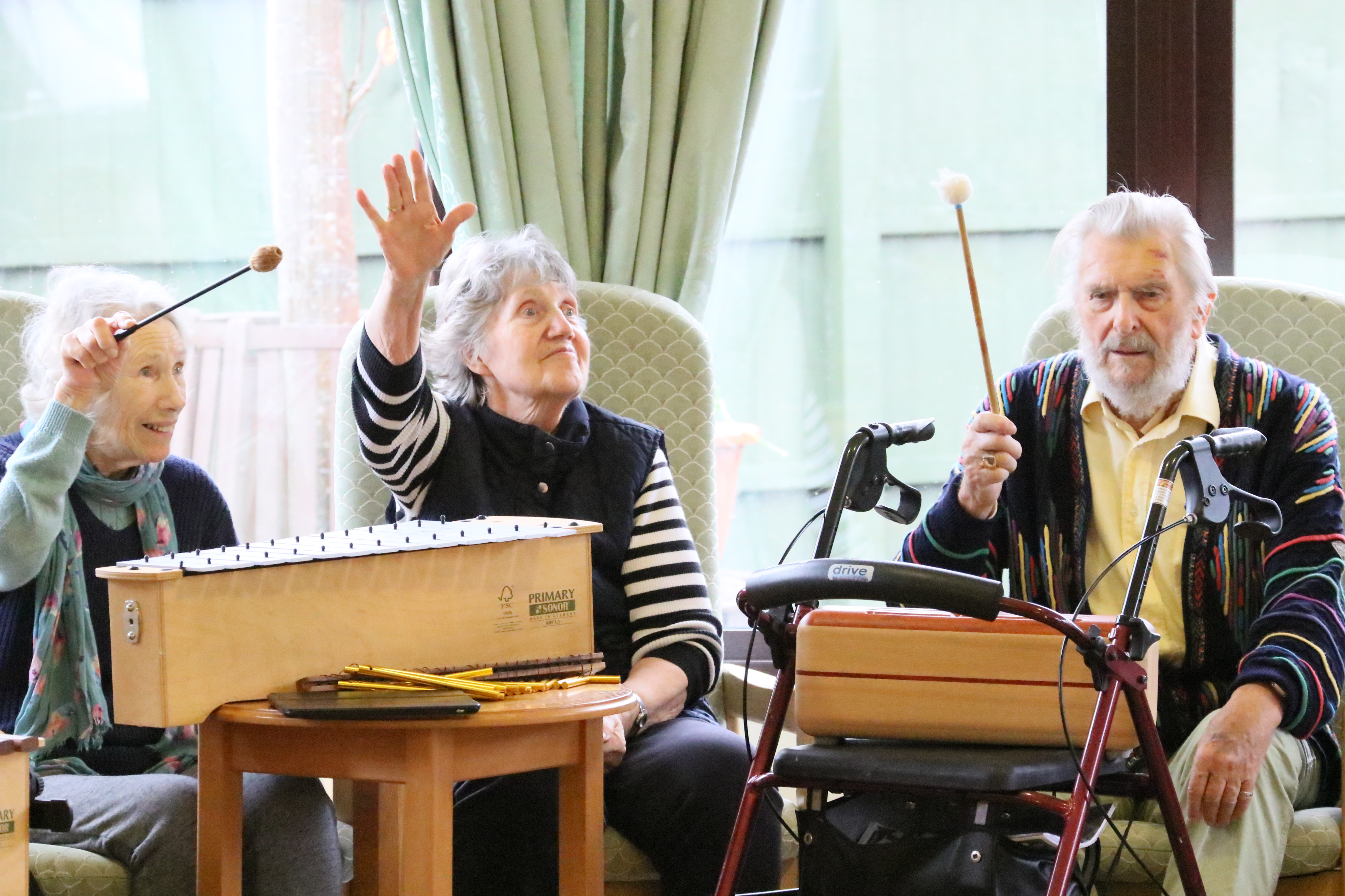 The Willows residents enjoying a music therapy session