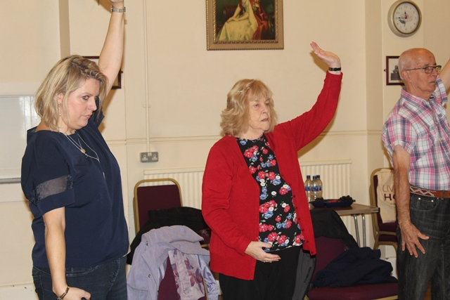 Government Minister Mims Davies doing Tai Chi at Eastleigh Live at Home